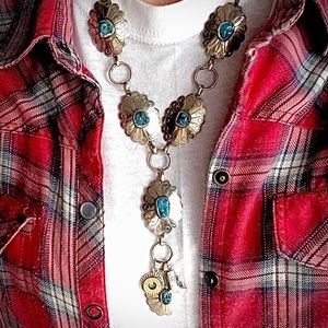 Vintage stetling&turquoise concho necklace